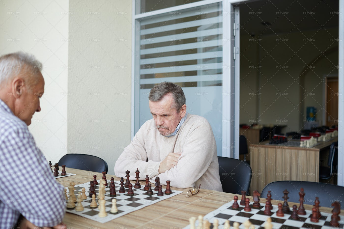 Practicing At Chess Club: Stock Photos