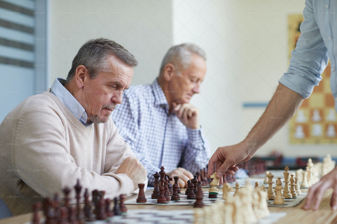 Leisure Time At Chess Club: Stock Photos