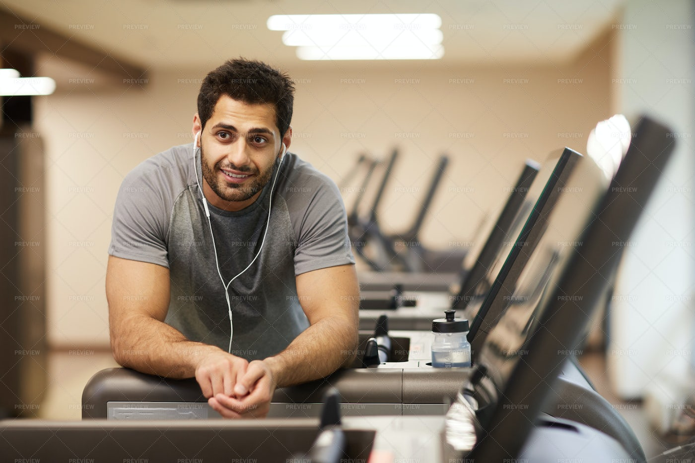 Handsome Man Posing In Gym: Stock Photos