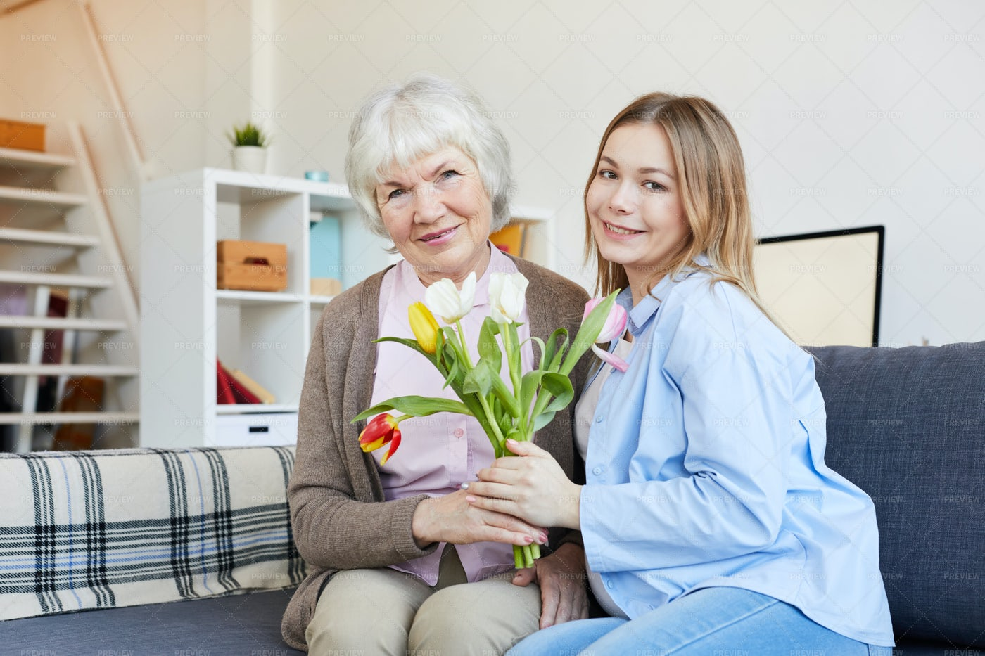 Young Woman Posing With Mother: Stock Photos