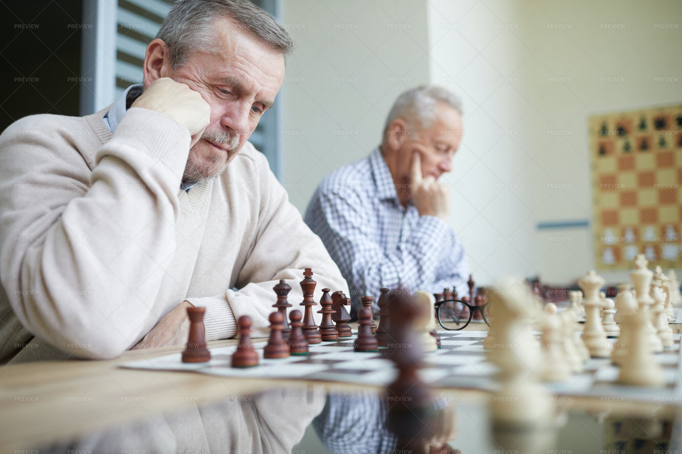 Solving Chess Problems: Stock Photos