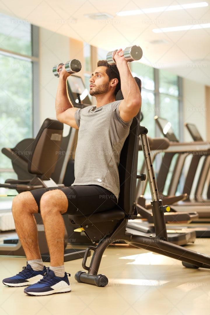 Man Training In Gym: Stock Photos
