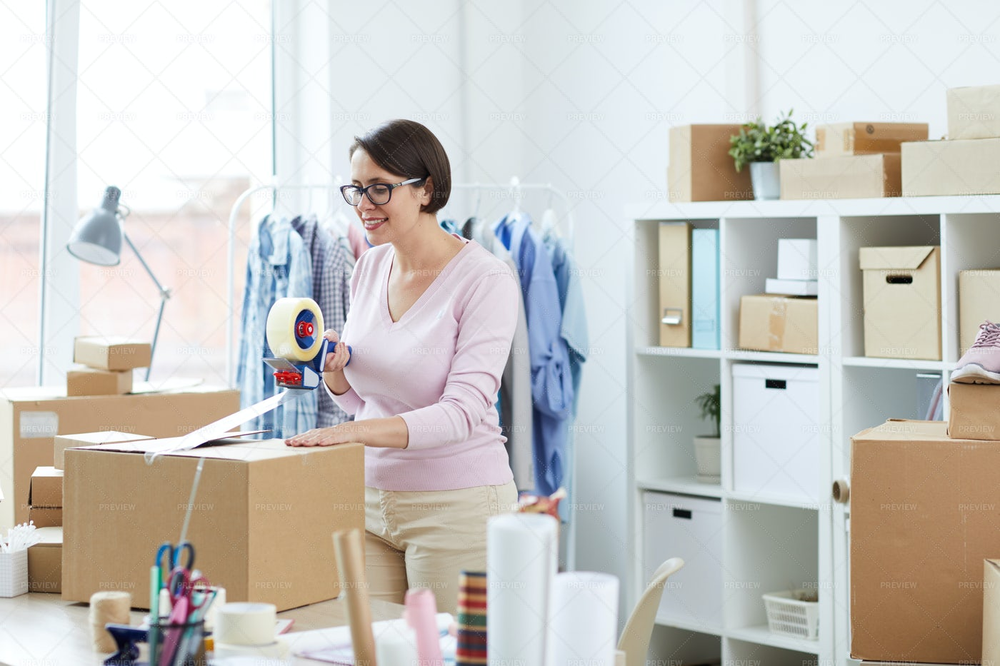Pretty Manager Of Online Shop...: Stock Photos