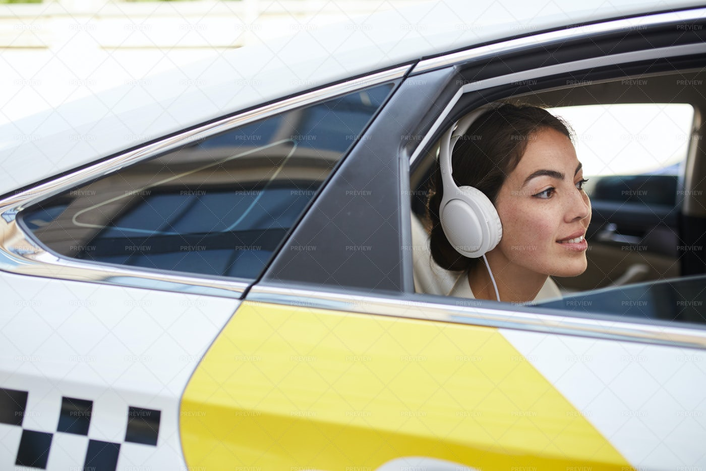 Smiling Woman In Taxi Side View: Stock Photos