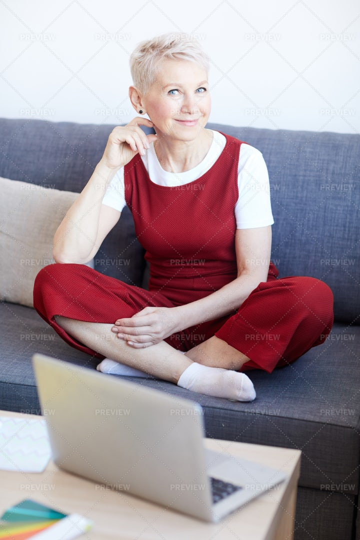 Woman On Couch: Stock Photos