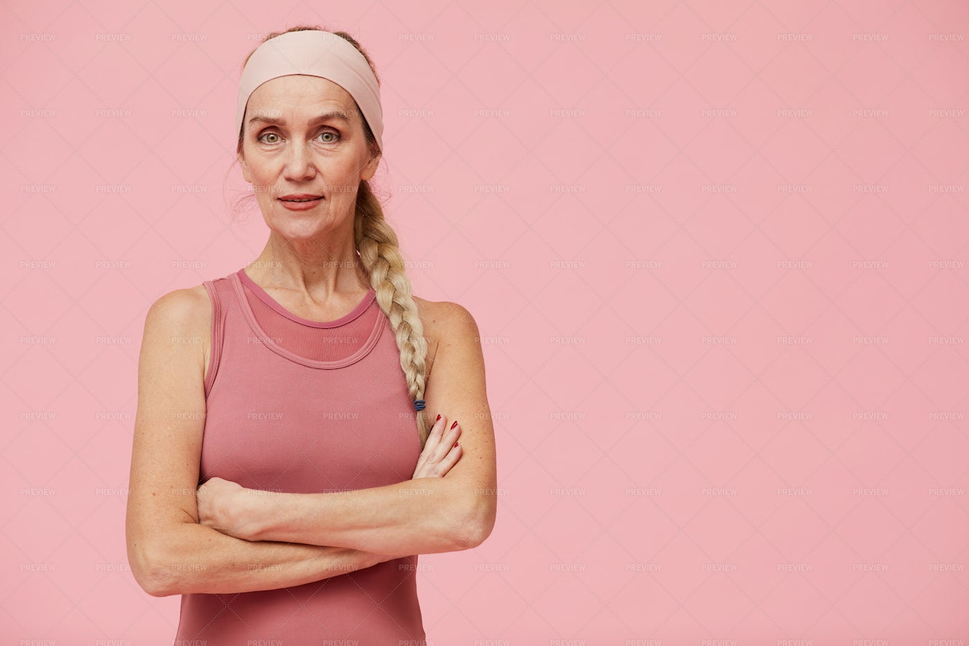 Sportive Mature Woman With Copy...: Stock Photos