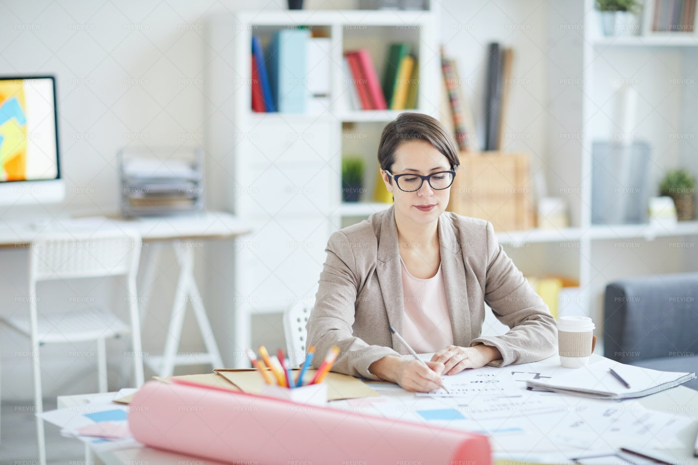 Woman Creating Designs: Stock Photos