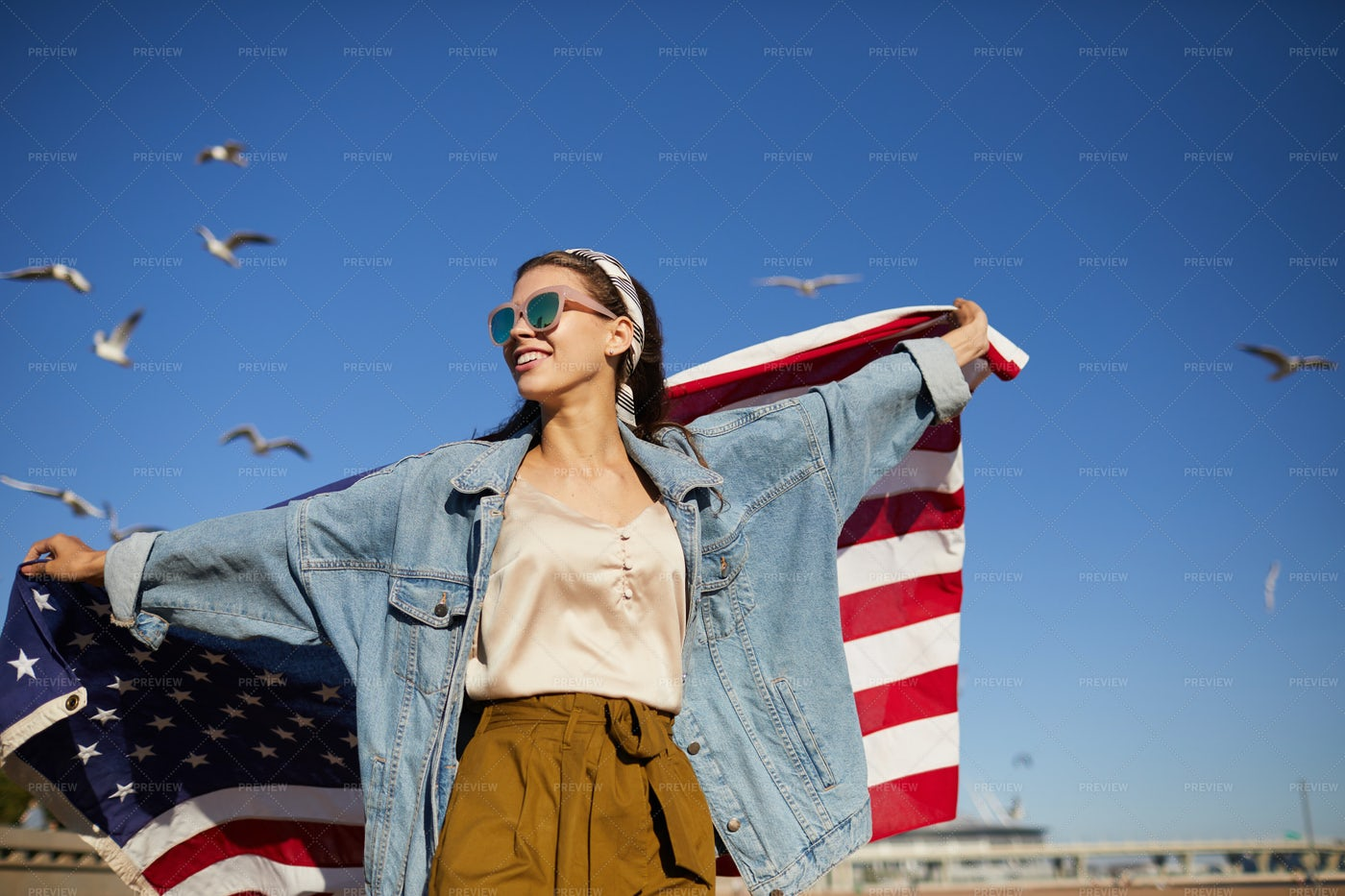 Independent Girl With American Flag: Stock Photos