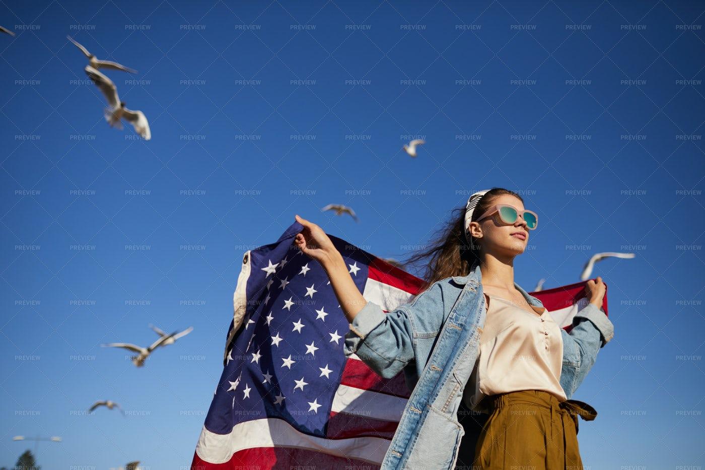 Stylish Girl In Wind: Stock Photos