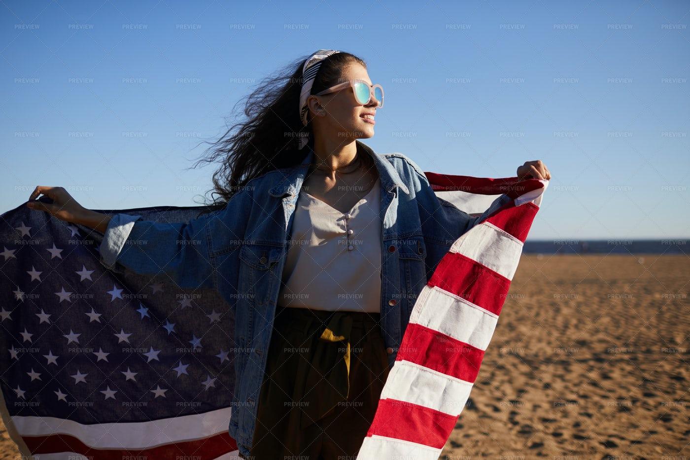 Positive Carefree American Girl On...: Stock Photos