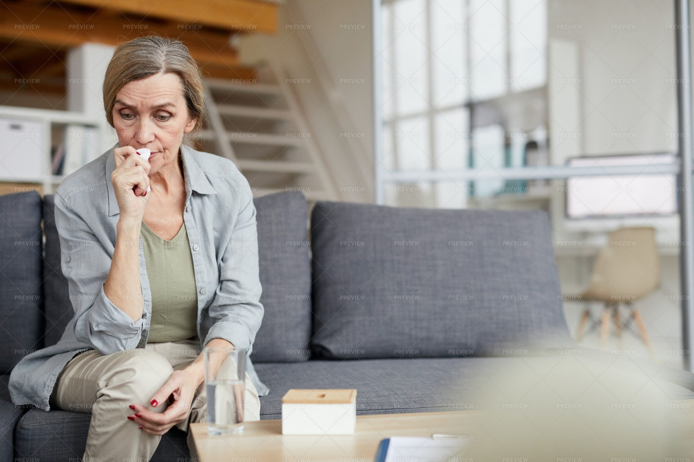 Crying Mature Woman At Home: Stock Photos