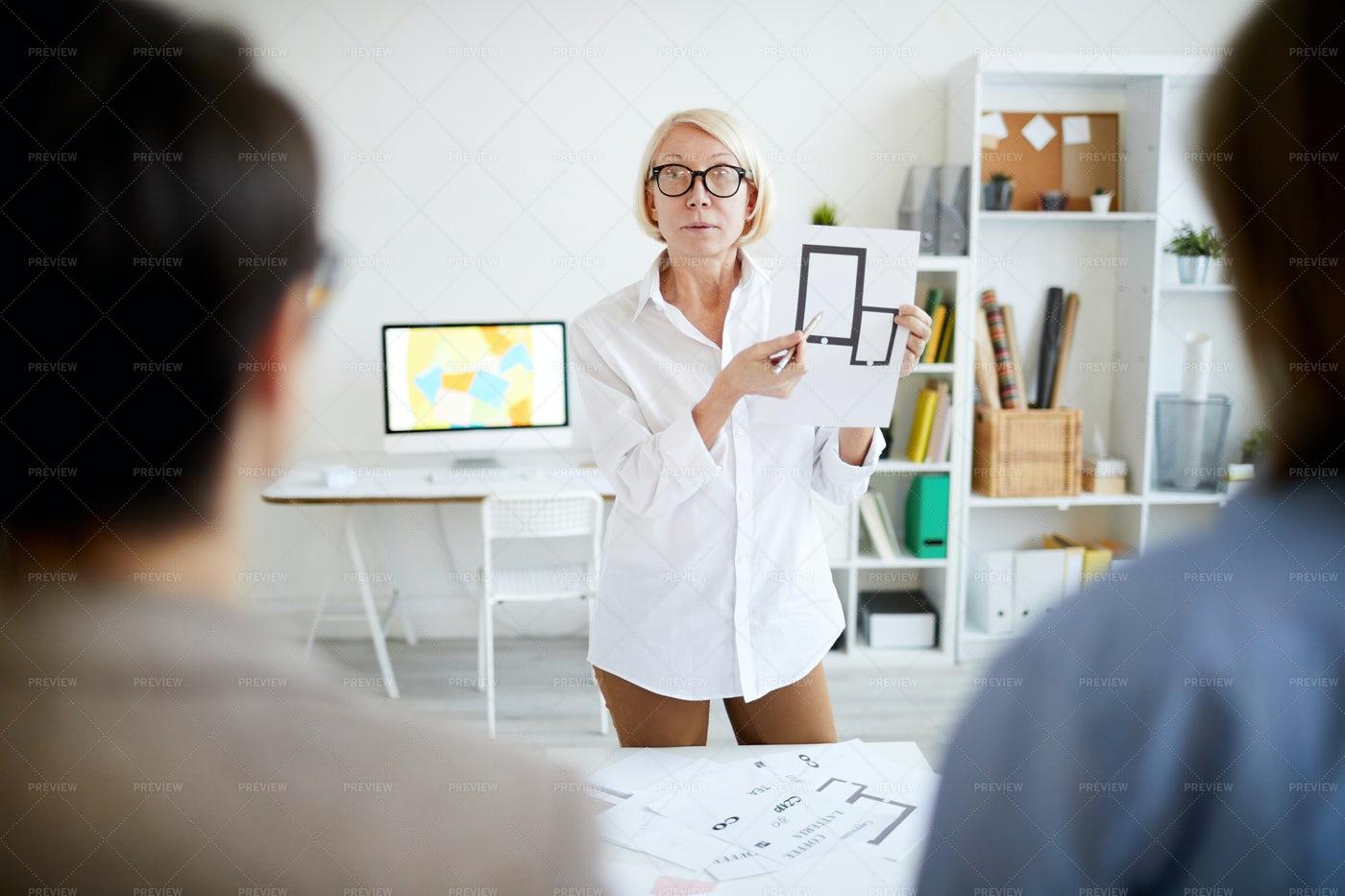 Mature Woman Explaining Technology...: Stock Photos