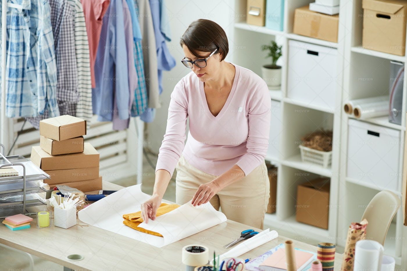 Young Worker Of Online Shop Office...: Stock Photos