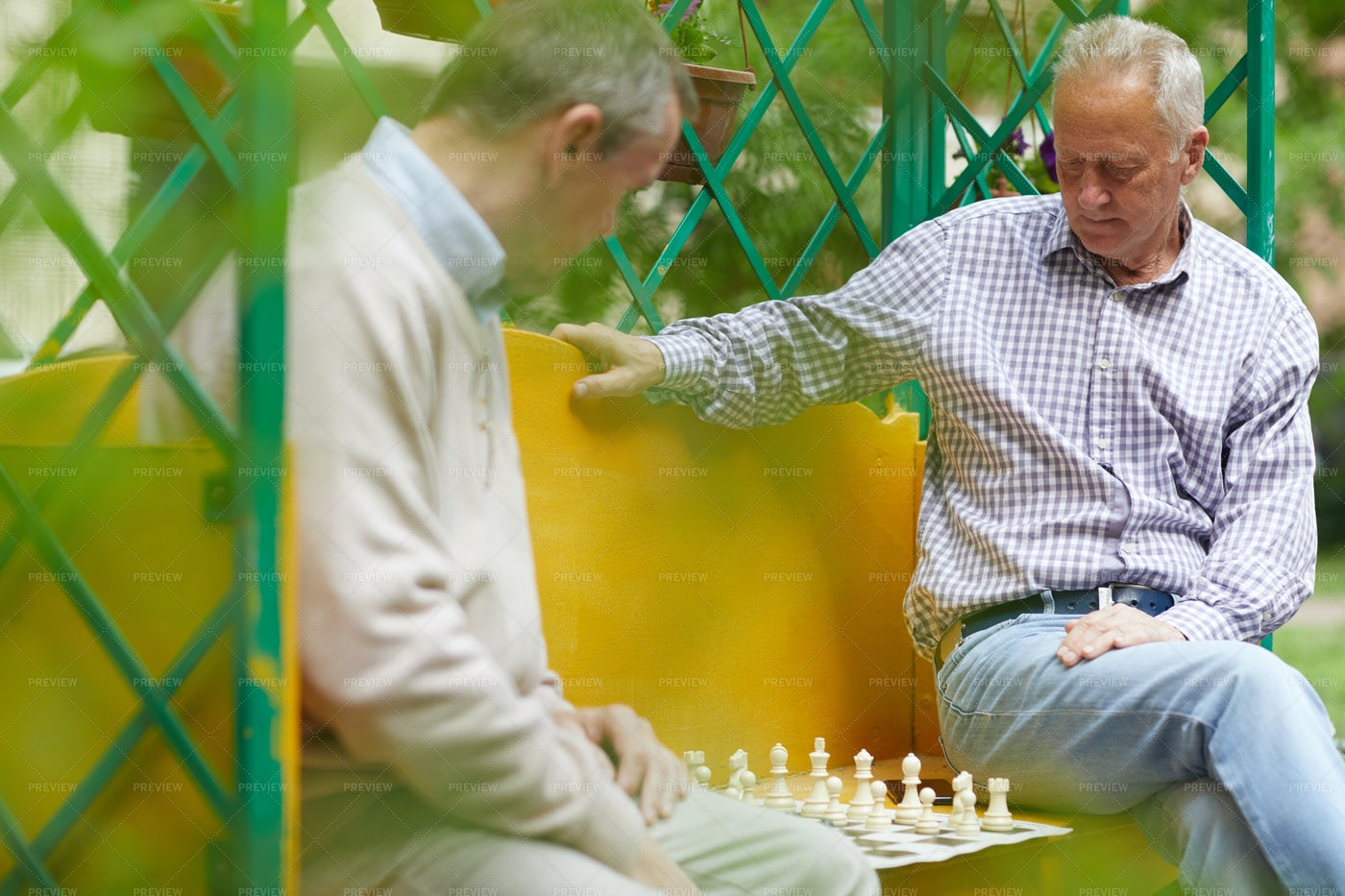 Playing Chess Outside: Stock Photos