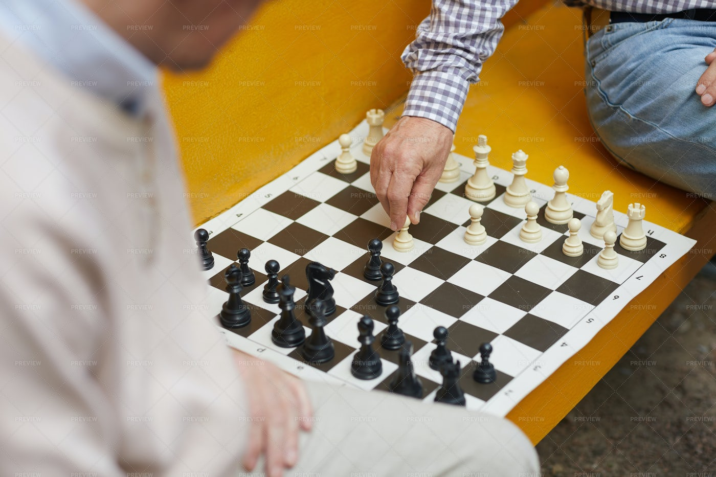 Playing Chess On Bench: Stock Photos