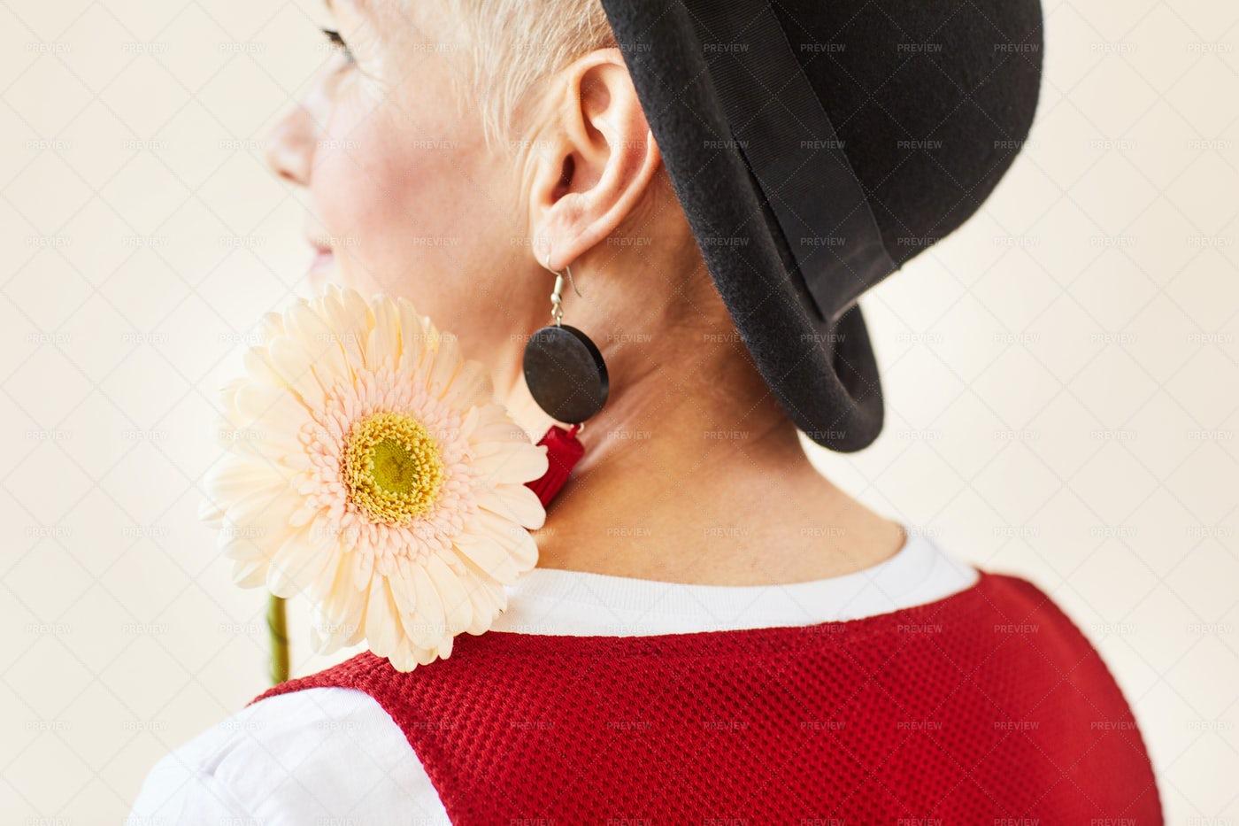 Woman With Herbera: Stock Photos