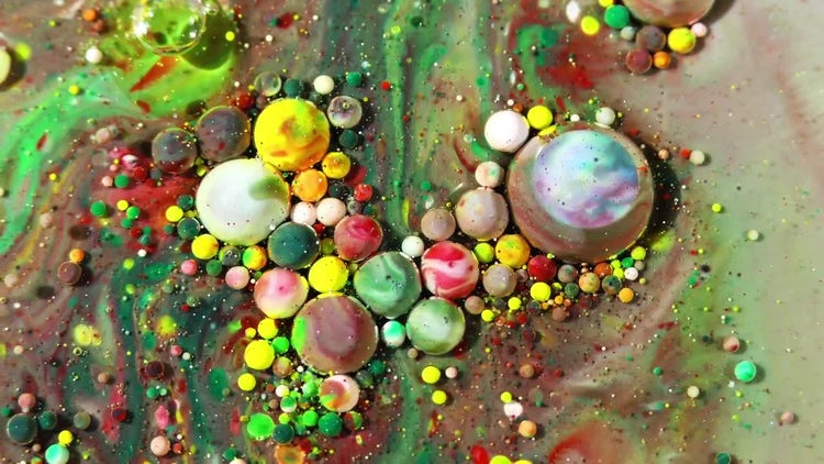 Colorful Ink Spheres On Oil: Stock Video