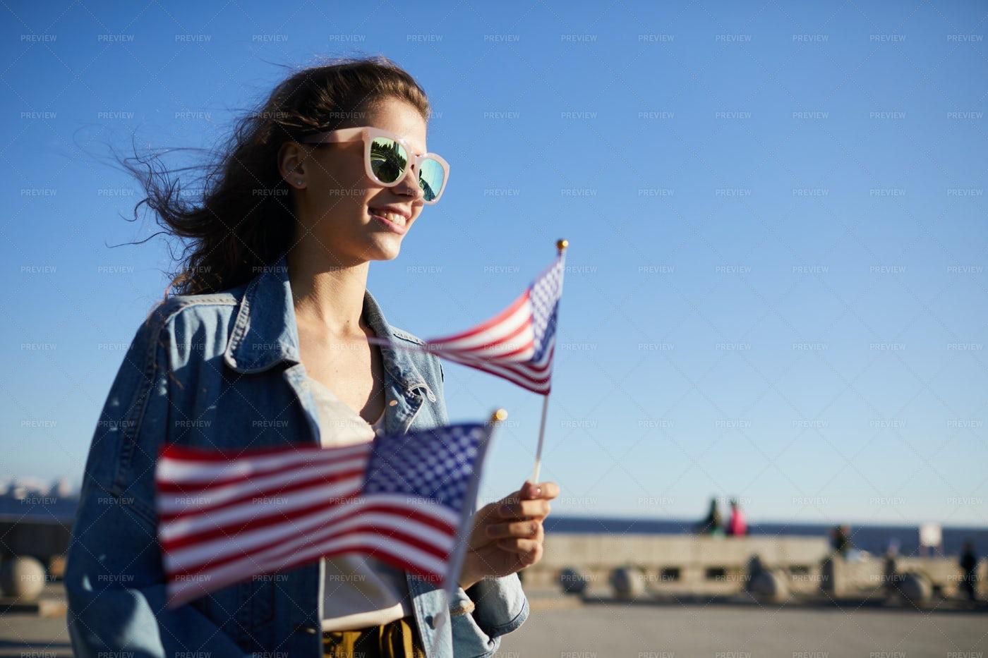 City Girl Walking At Independence...: Stock Photos