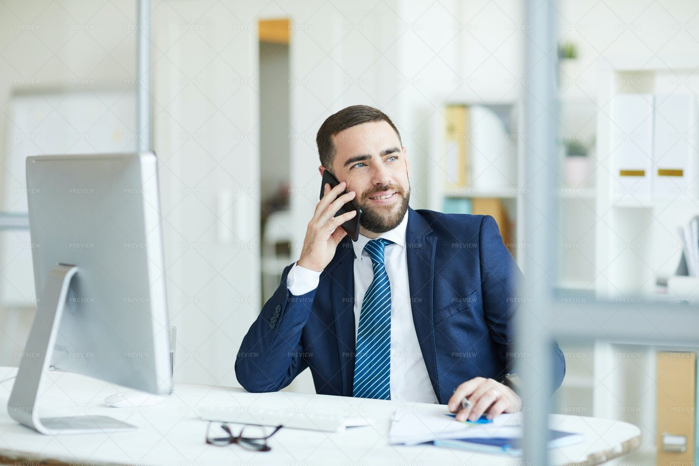 Project Manager On Phone: Stock Photos