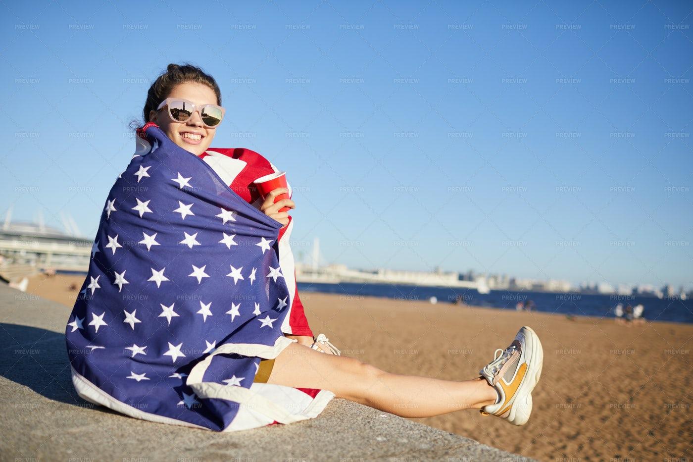 Celebrating Fourth Of July On Beach: Stock Photos