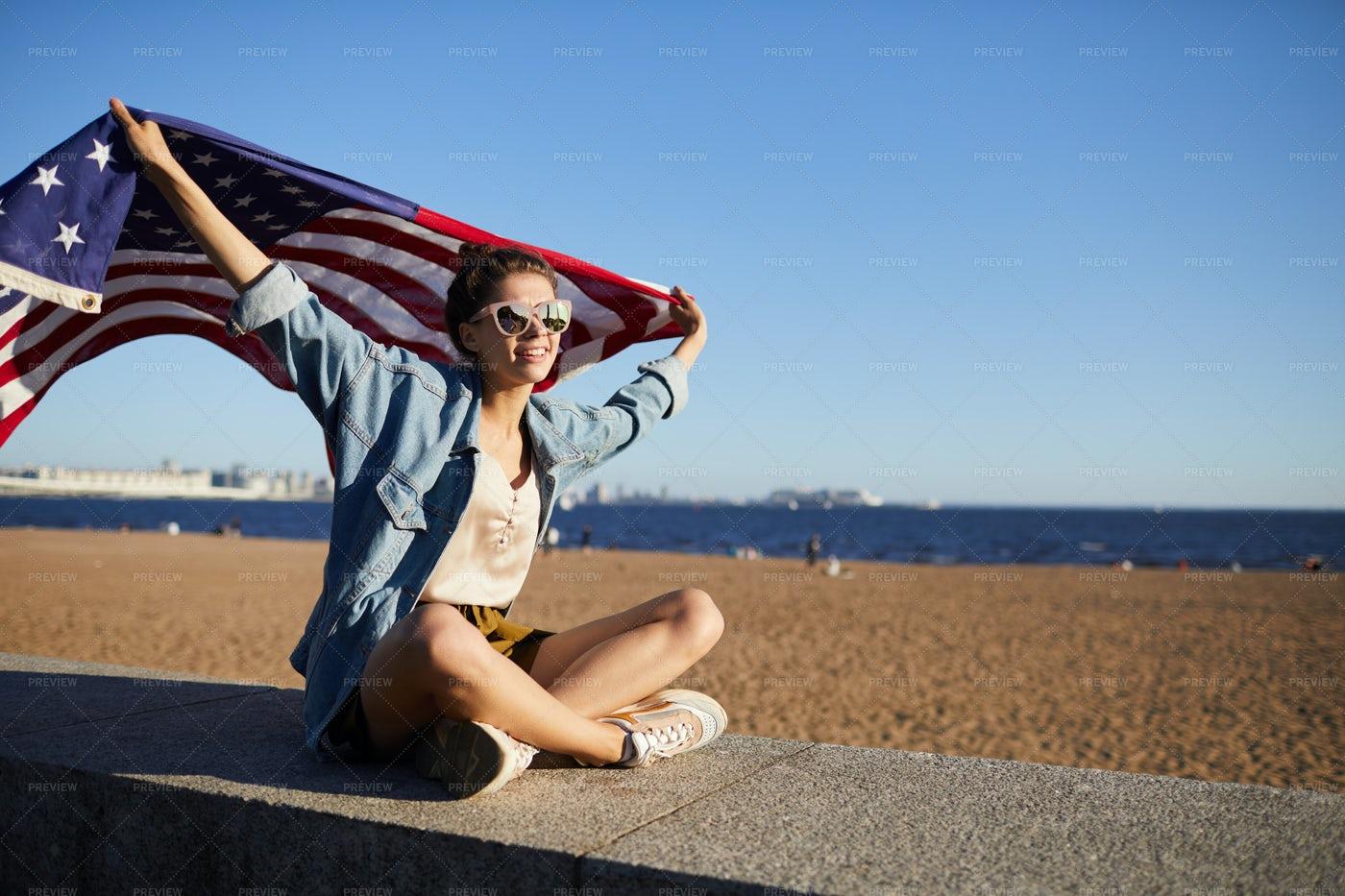 Beautiful Woman With USA Flag: Stock Photos