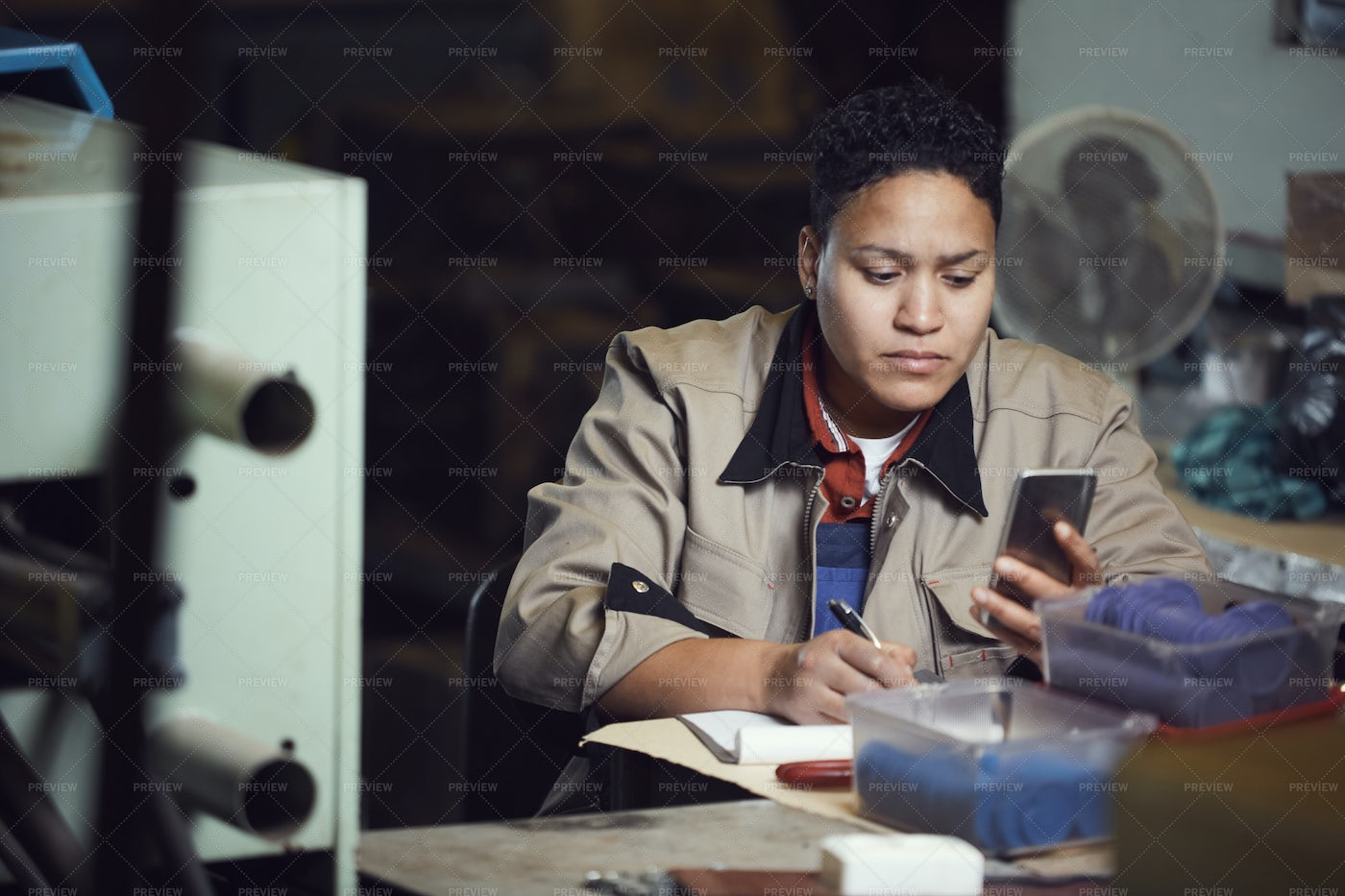 Female Worker At Production Line: Stock Photos