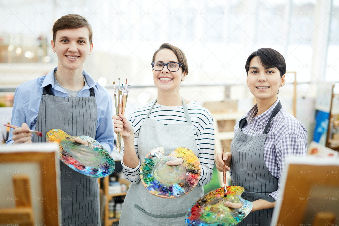Group Of Students In Art Class: Stock Photos