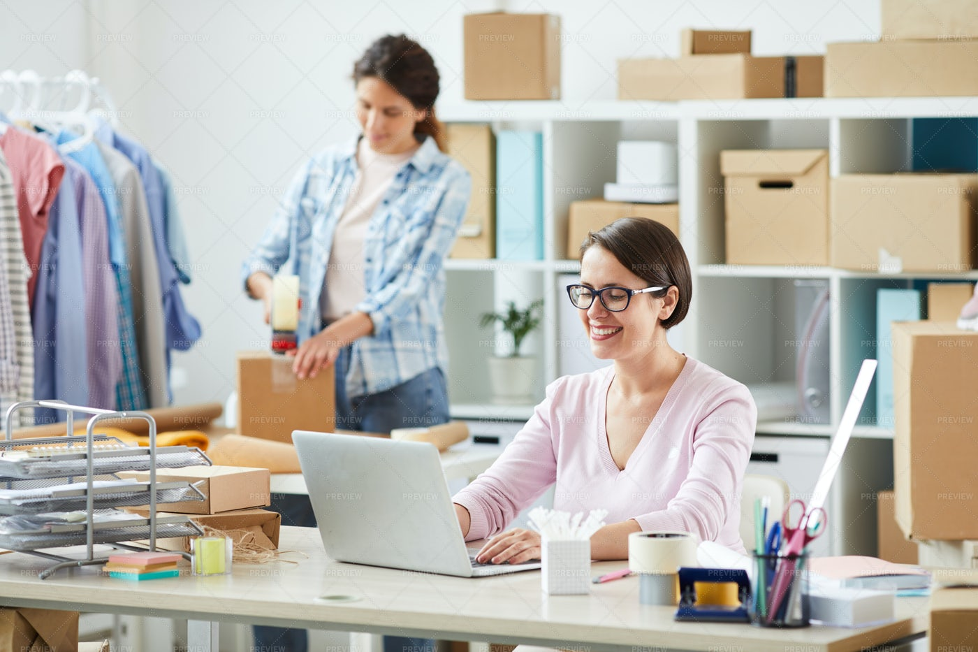 Young Online Shop Manager...: Stock Photos
