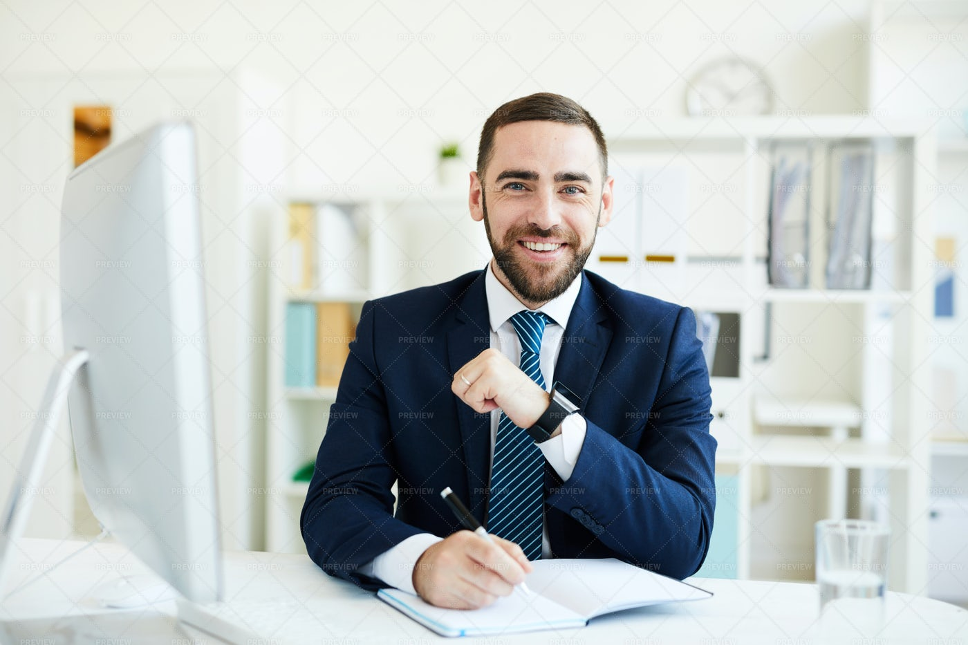 Happy CEO At Desk: Stock Photos