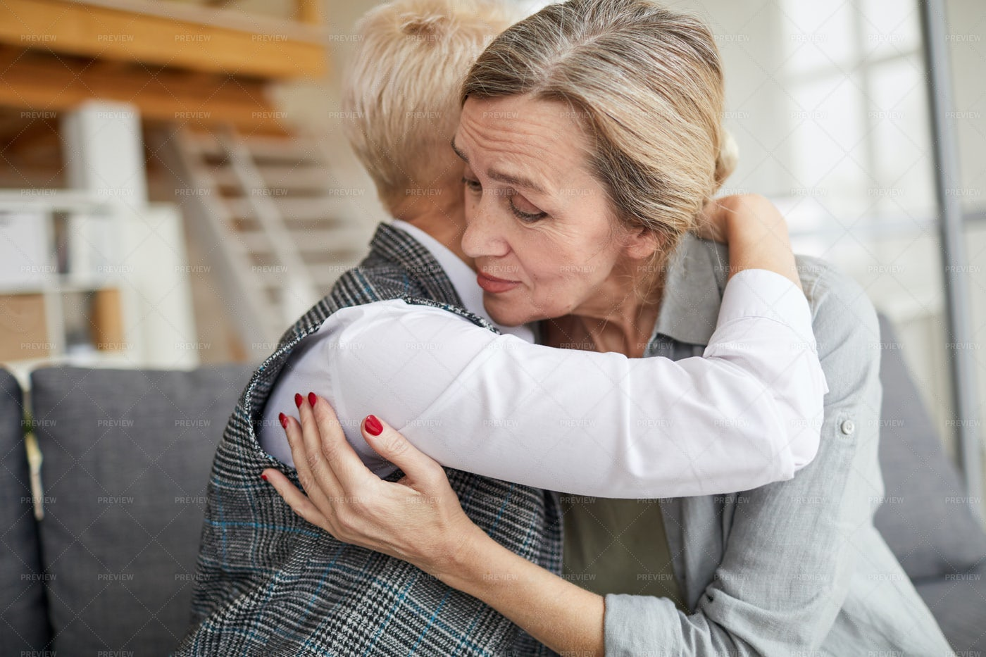 Grateful Patient Embracing Female...: Stock Photos