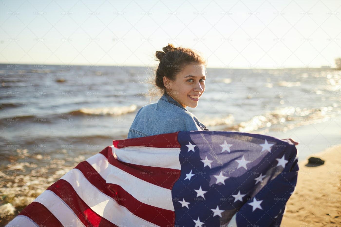Smiling Woman With Big National...: Stock Photos