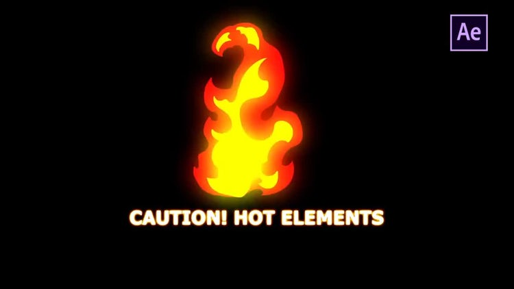 Hand Drawn Fire Elements 24 Fps: After Effects Templates