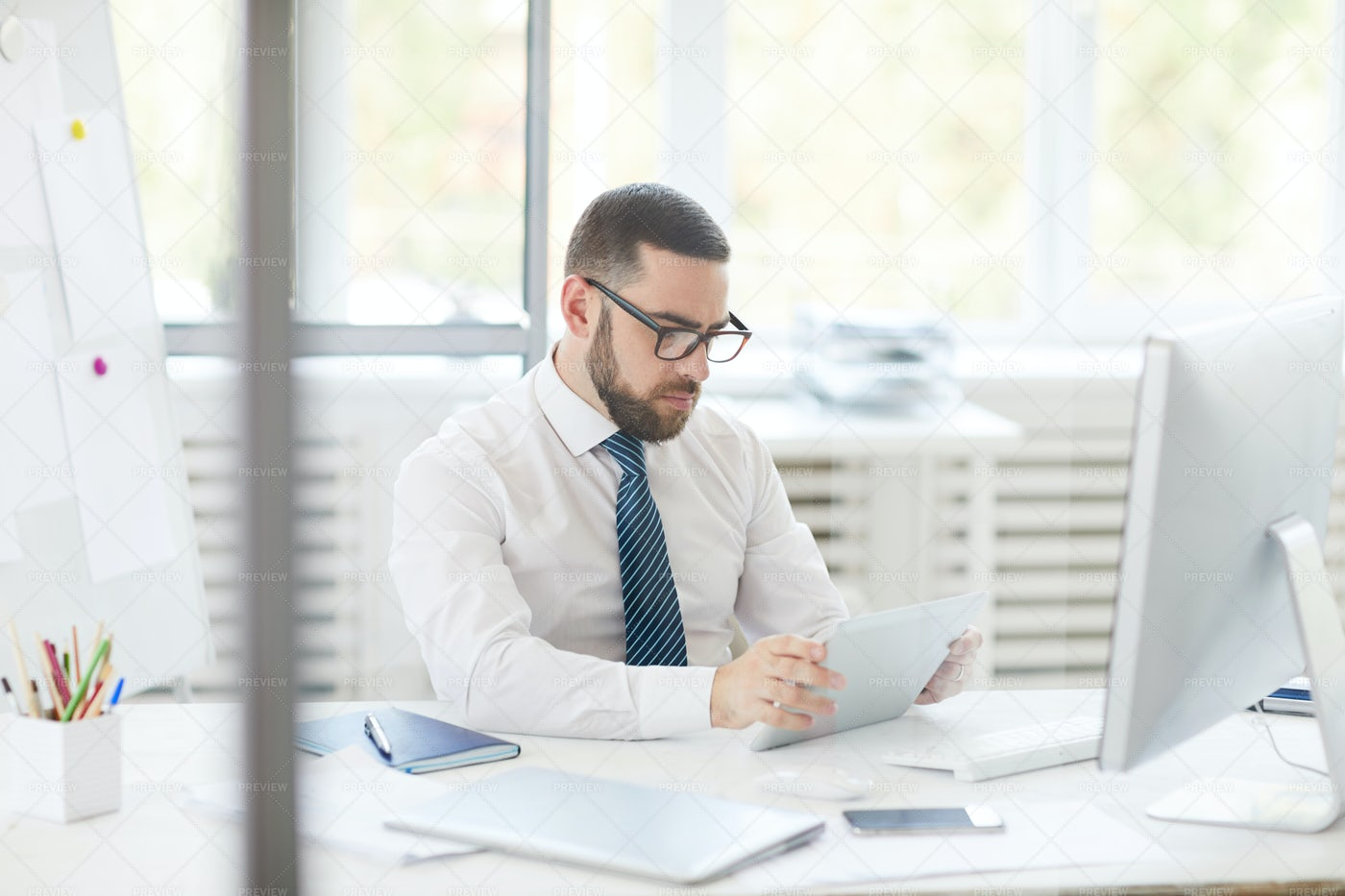Businessman Analyzing Online Chart: Stock Photos