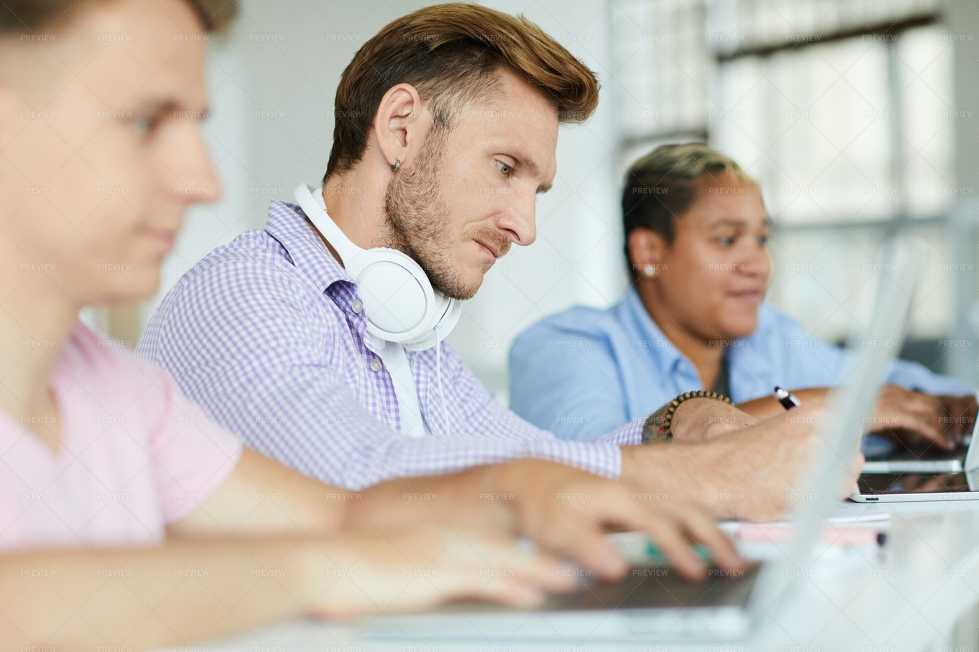 Concentrated Guy Analyzing...: Stock Photos
