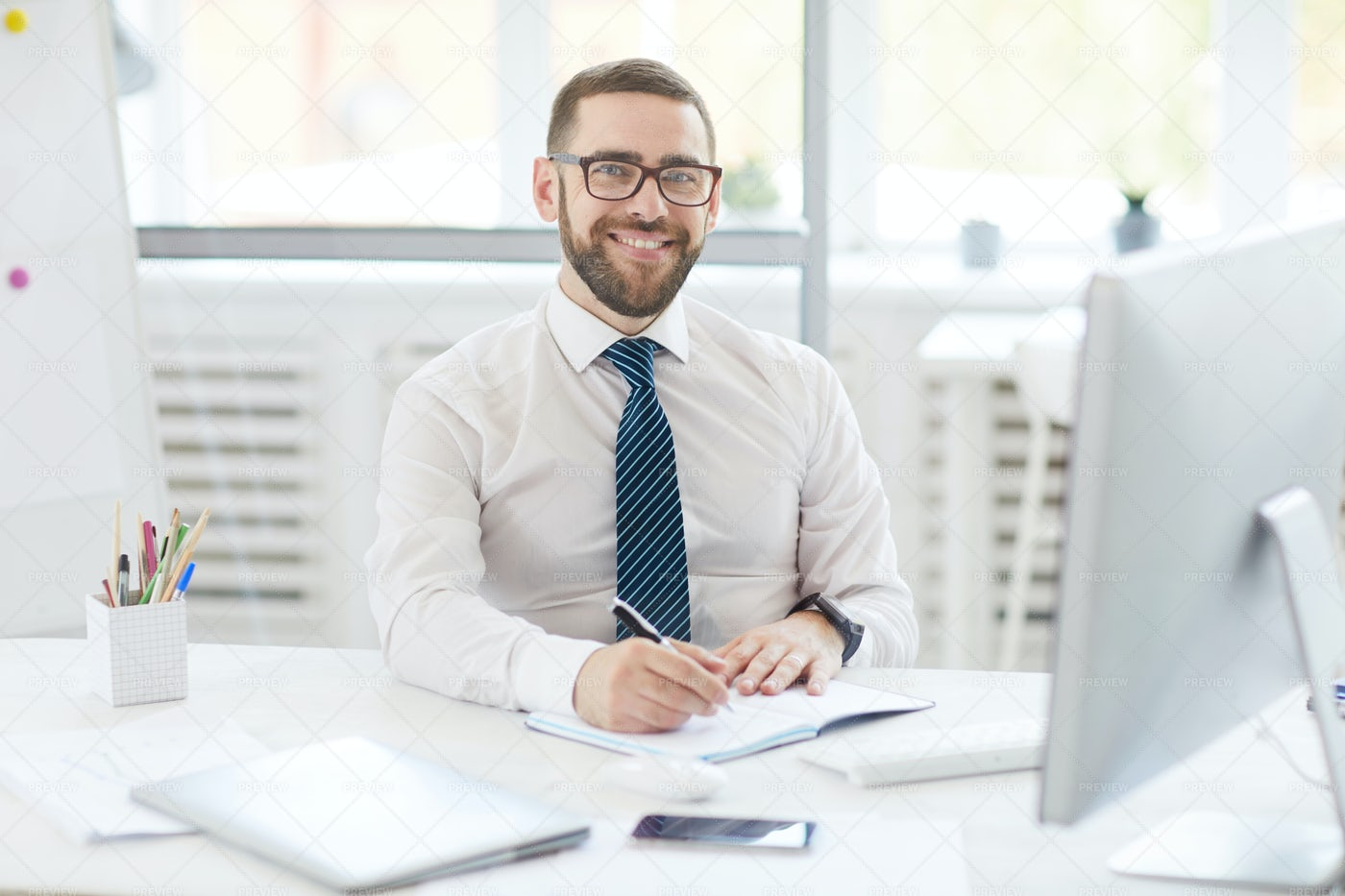 Positive Manager At Work: Stock Photos
