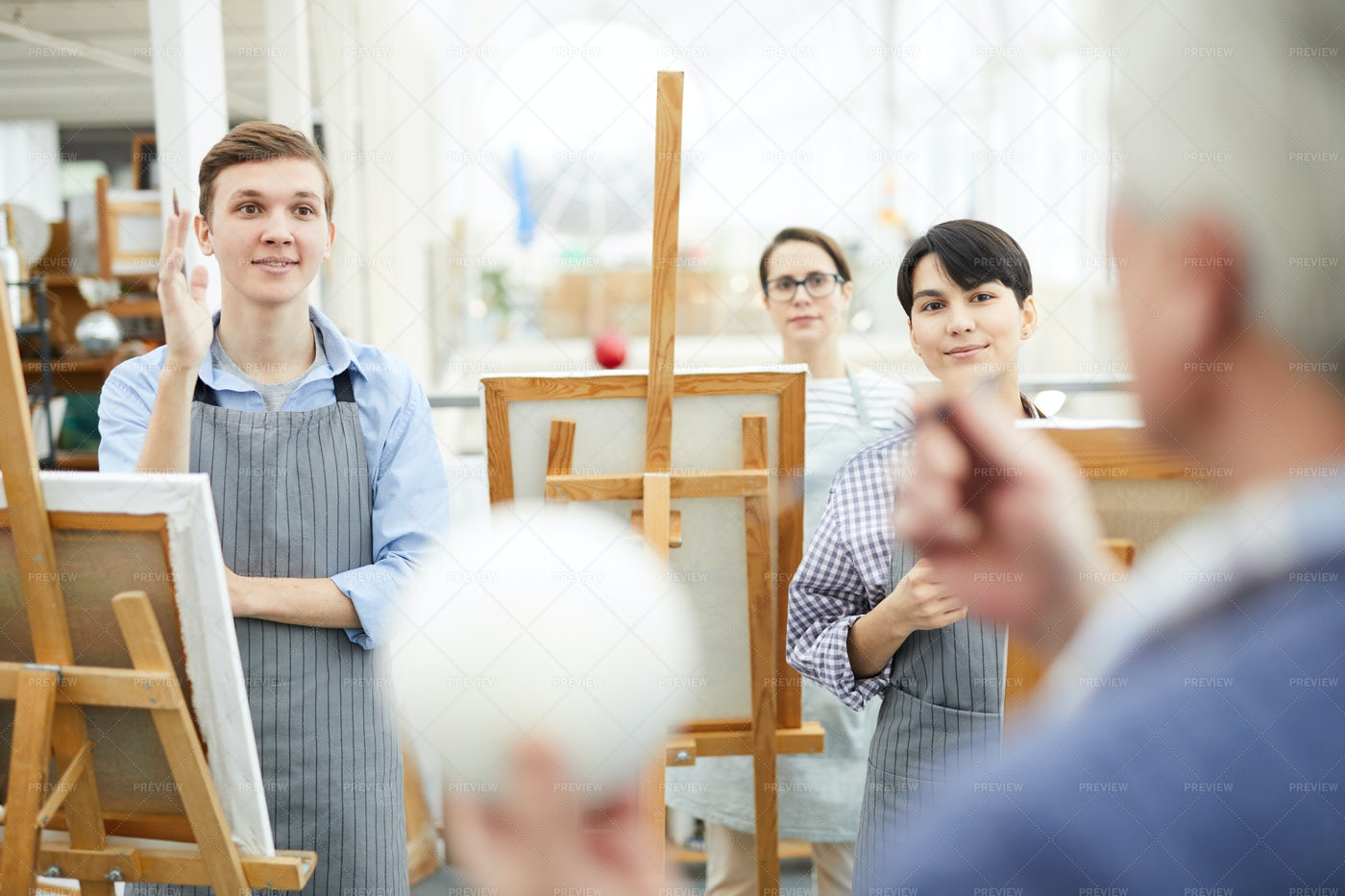 Art Students Listening In Lecture: Stock Photos