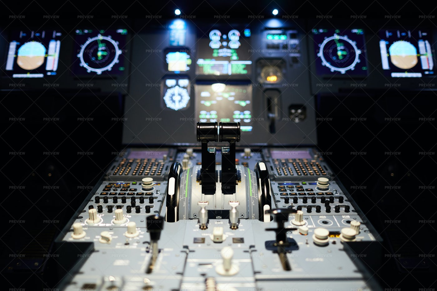 Airplane Cockpit With Illumination: Stock Photos