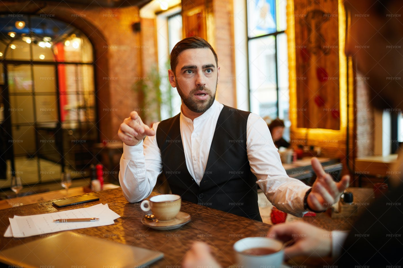 Businessman In Restaurant: Stock Photos