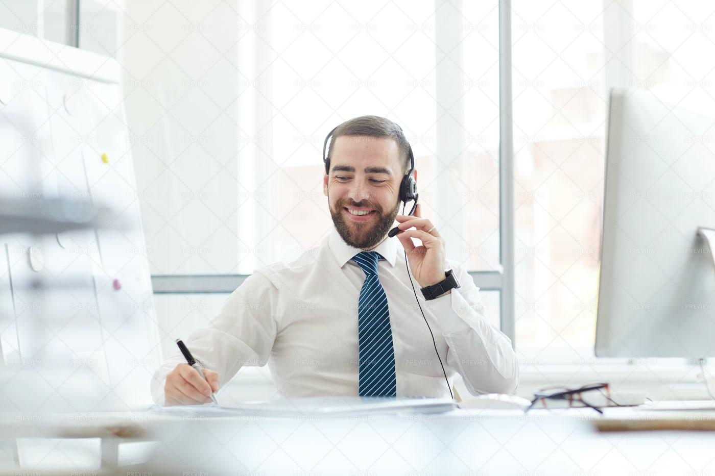 Call Center Agent At Work: Stock Photos