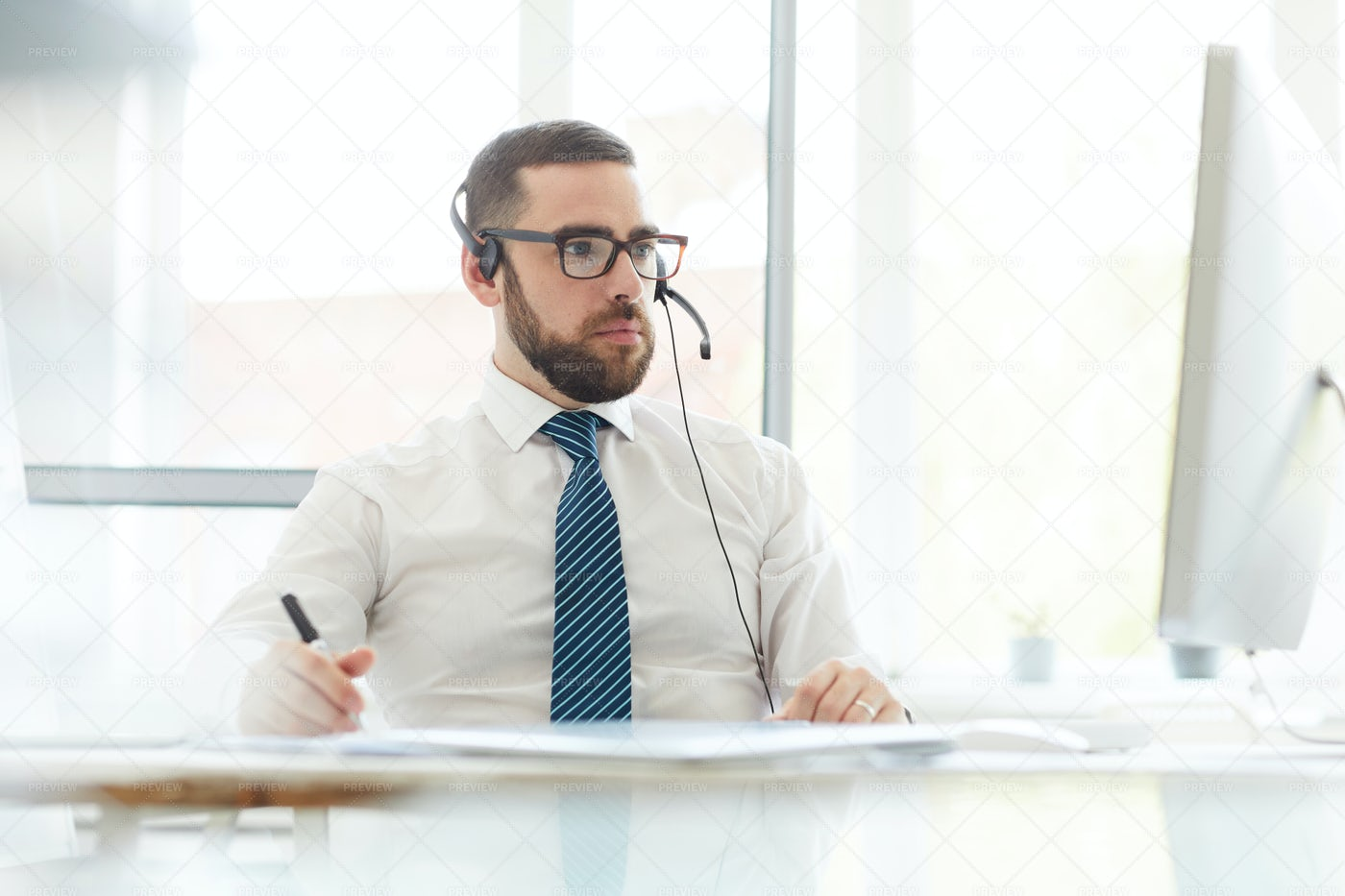 Busy Tech Support Manager...: Stock Photos