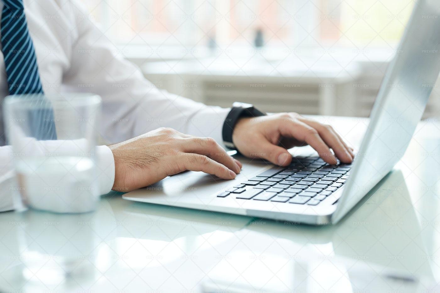 Using Laptop For Business Analysis: Stock Photos
