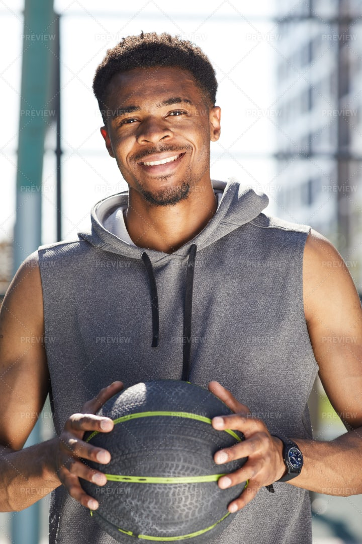 African Basketball Player Smiling: Stock Photos