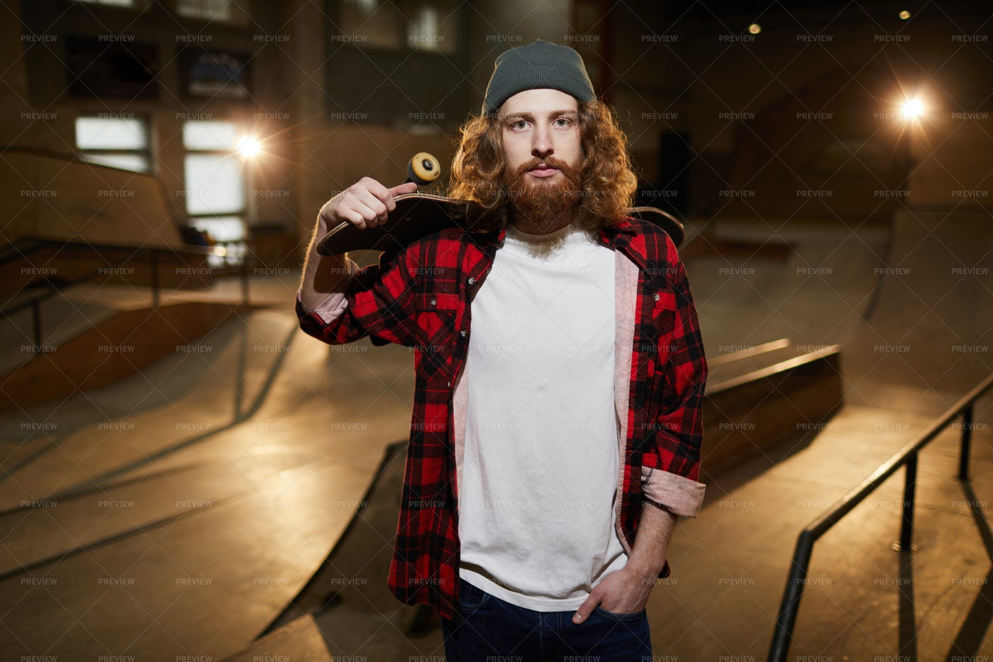 Bearded Skater Looking At Camera: Stock Photos