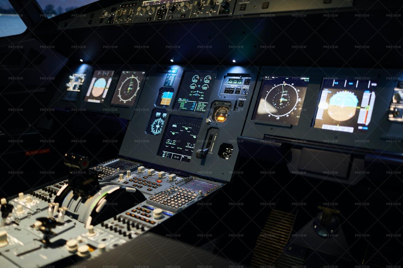 Night Illumination Of Cockpit: Stock Photos