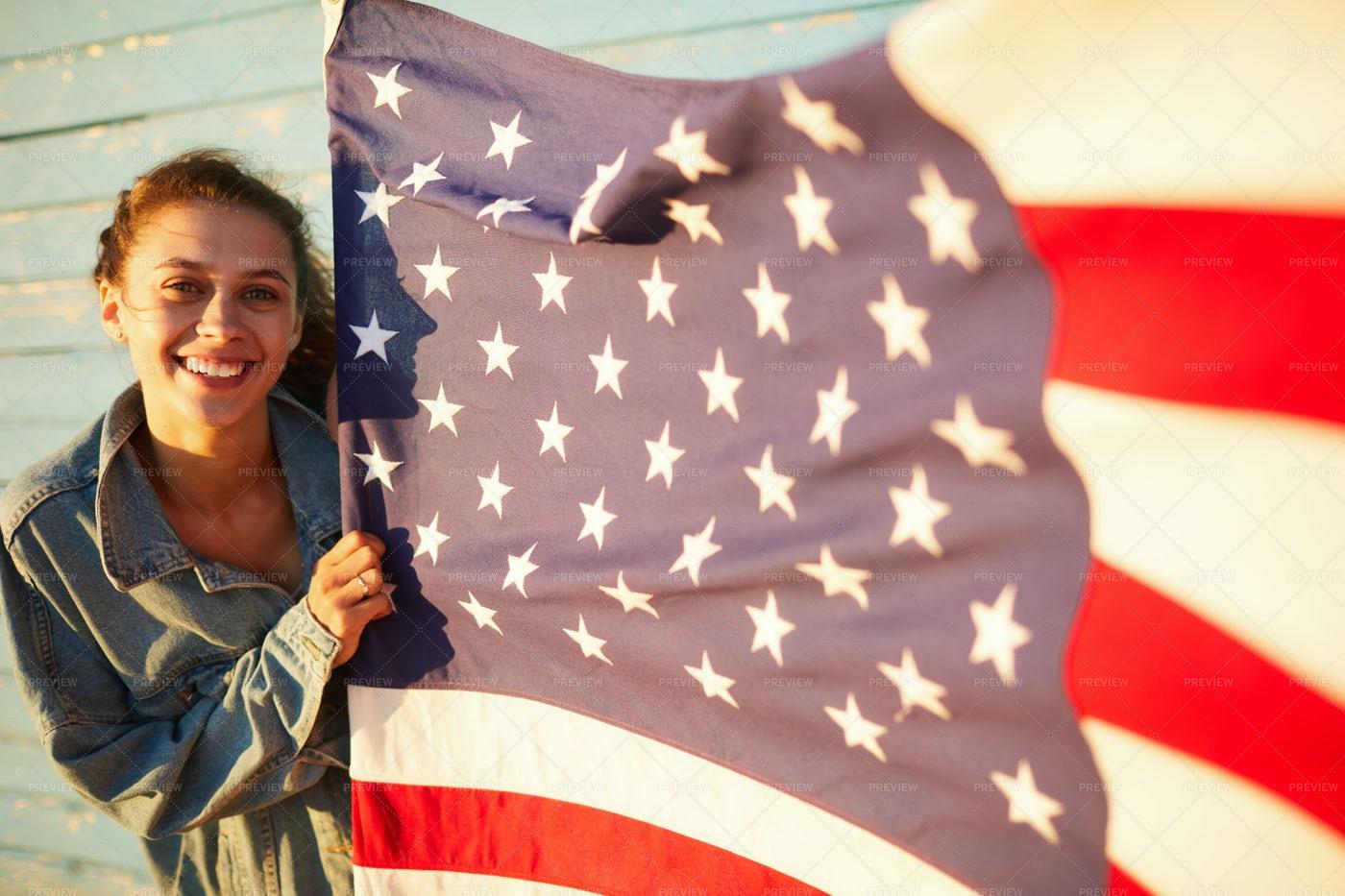 Student Girl Proud Of America: Stock Photos