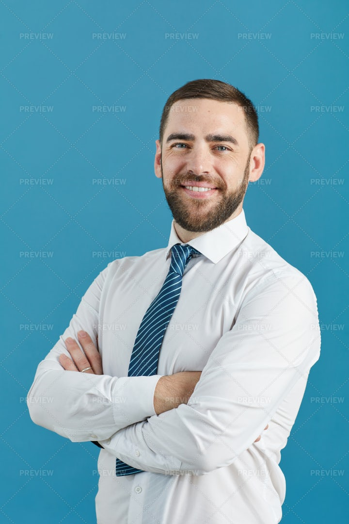 Bearded White-Collar Man In Shirt: Stock Photos