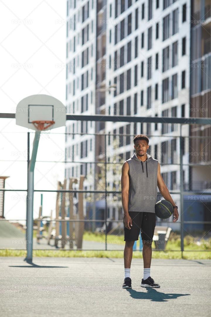 African Basketball Player Outdoors: Stock Photos