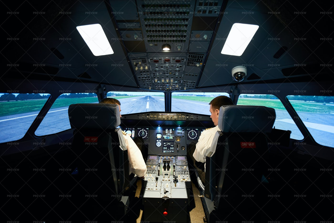 Male Aviators Checking Airplane...: Stock Photos