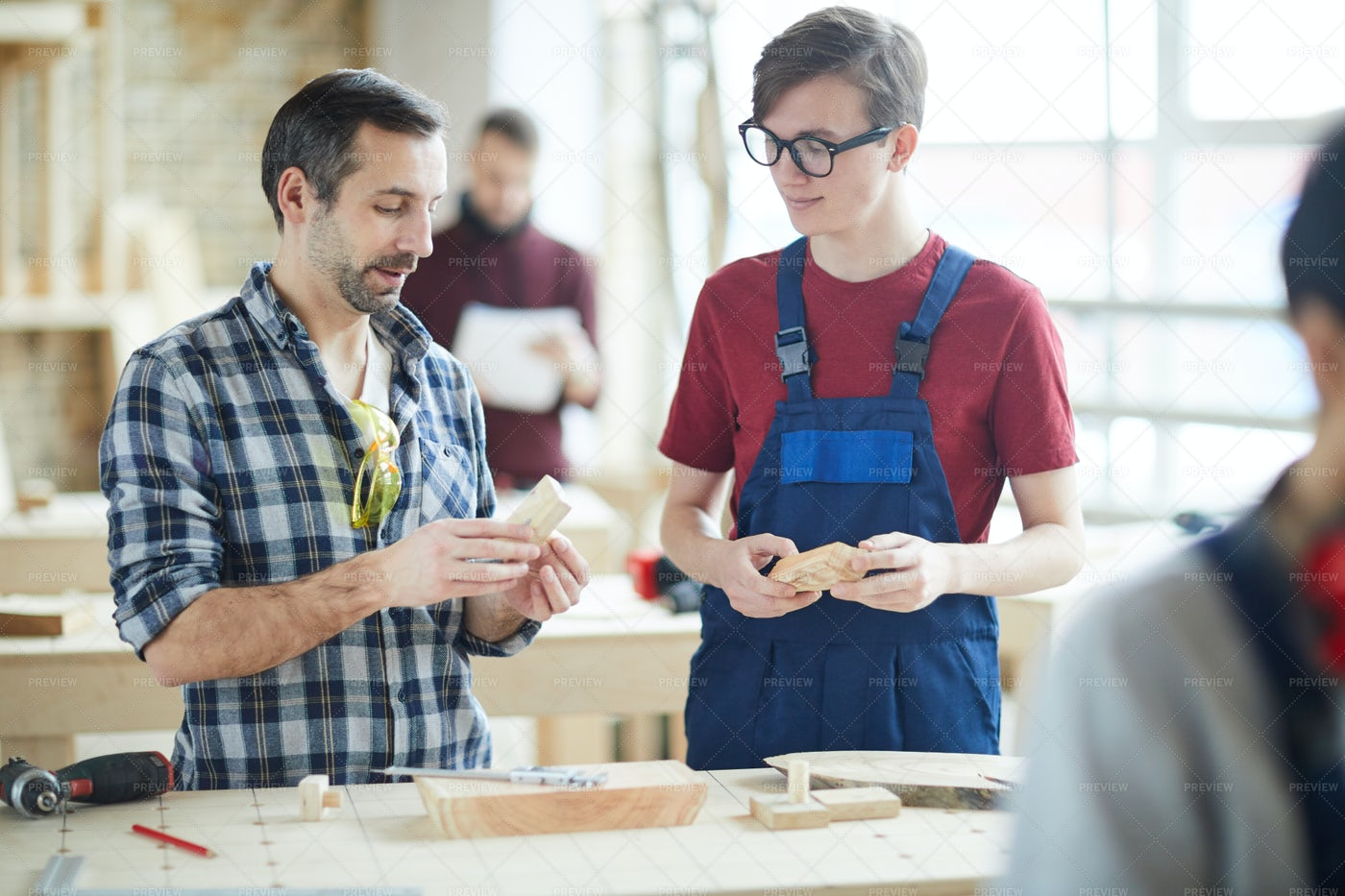 Professional Carpenter Gives Advice: Stock Photos