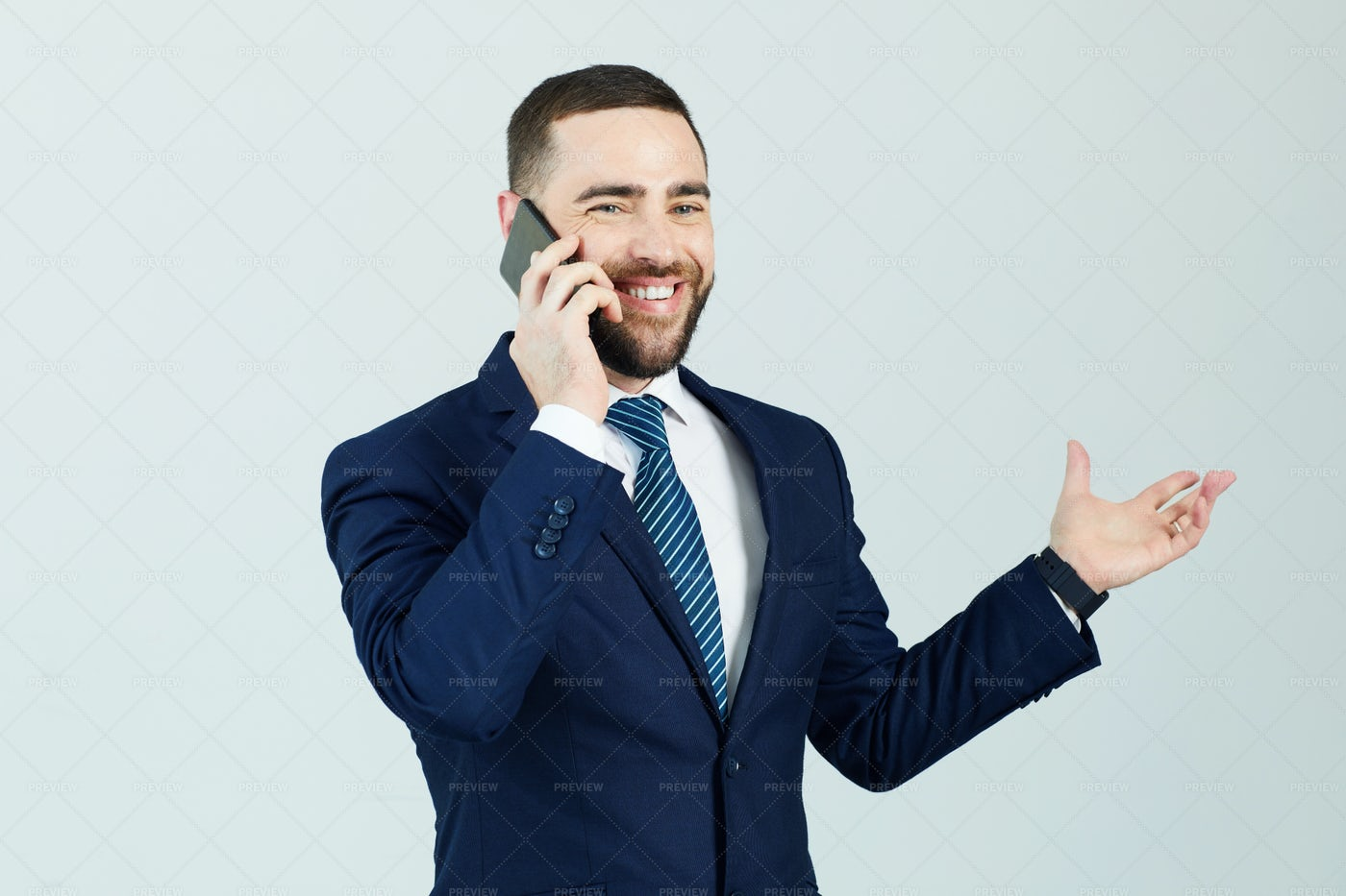 Positive Manager Communicating On...: Stock Photos